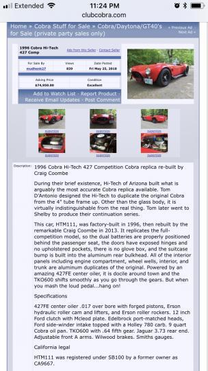 looking to get another ERA 427 car - Club Cobra